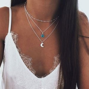 SILVER MOONTURQUOISE CRYSTAL  NECKLACE